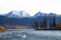 Fishermen line up where the upper Kenai River empties into Skilak Lake.
