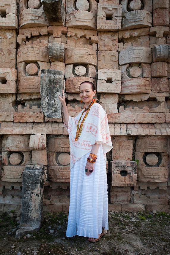 Chef Patricia Quintana at the Mayan archeological site Kabah, Yucatan, Mexico