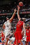 Real Madrid´s Felipe Reyes (L) and CAI Zaragoza´s Sanikidze during 2013-14 Liga Endesa basketball match at Palacio de los Deportes stadium in Madrid, Spain. May 30, 2014. (ALTERPHOTOS/Victor Blanco)