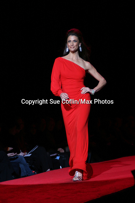 Samantha Harris host for Dancing with the Star wearing David Meister atThe Heart Truth's Red Dress Collection 2009 Fashion Show which raises awareness that heart disease is the #1 killer of women was held during Mercedes -Benz Fashion Week New York Fall 09 on February 13, 2009 in Bryant Park, New York City, NY. This event unites with America's top designers to showcase a colleciton of one-of-a-kind Red Dresses. (Photo by Sue Coflin/Max Photos)