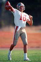 ROCKLIN, CA - Joe Montana of the San Francisco 49ers throws the football during practice at training camp at Sierra College in Rocklin, California in 1988. Photo by Brad Mangin