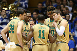 16 January 2016: During a timeout, Notre Dame's Demetrius Jackson (11) talks with Steve Vasturia (32), Bonzie Colson (35), Zach Auguste (30), and Matt Ryan (right). The Duke University Blue Devils hosted the University of Notre Dame Fighting Irish at Cameron Indoor Stadium in Durham, North Carolina in a 2015-16 NCAA Division I Men's Basketball game. Notre Dame won the game 95-91.
