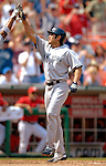 17 June 2006: Johnny Damon, center fielder for the New York Yankees, celebrates his grand slam in the 5th inning against the Washington Nationals at RFK Stadium, in Washington, DC. The Nationals overcame a seven run deficit to win 11-9 in the second game of the interleague series...Mandatory Photo Credit: Ed Wolfstein Photo...