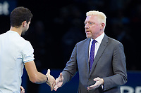 Boris Becker congratulates winner Grigor DIMITROV (Bulgaria) during the NiTTO ATP World Tour 2017 FINAL's Day at the O2, London, England on 19 November 2017. Photo by Andy Rowland.
