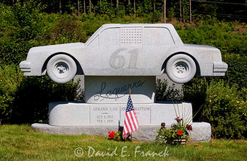 Racing Car gravestone at the Hope Cemetery in Barre, Vermont the granite capital of the world.