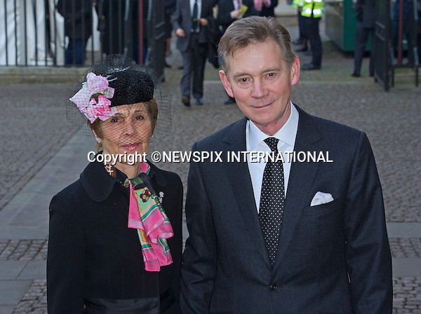 ANTHONY ANDREWS AND WIFE GEORGINA SIMPSON<br /> attend Sir David Frost Memorial, Westminster Abbey, London_13/03/2014<br /> Mandatory Credit Photo: &copy;Dias/NEWSPIX INTERNATIONAL<br /> <br /> **ALL FEES PAYABLE TO: &quot;NEWSPIX INTERNATIONAL&quot;**<br /> <br /> IMMEDIATE CONFIRMATION OF USAGE REQUIRED:<br /> Newspix International, 31 Chinnery Hill, Bishop's Stortford, ENGLAND CM23 3PS<br /> Tel:+441279 324672  ; Fax: +441279656877<br /> Mobile:  07775681153<br /> e-mail: info@newspixinternational.co.uk