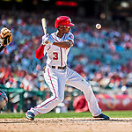 16 August 2017: Washington Nationals outfielder Michael Taylor lays off a high and inside pitch during a game against the Los Angeles Angels at Nationals Park in Washington, DC. The Angels defeated the Nationals 3-2 to split their 2-game series. Mandatory Credit: Ed Wolfstein Photo *** RAW (NEF) Image File Available ***