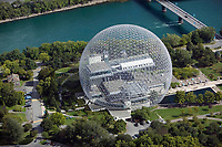 aerial photograph of the Biosphère geodesic dome, a Canadian environmental museum, Montreal, Quebec, Canada
