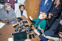 Press surround Democratic presidential candidate and Massachusetts senator Elizabeth Warren during a gaggle with New Hampshire media after she filed paperwork to get on the primary ballot at the NH State House in Concord, New Hampshire, on Wed., November 13, 2019.