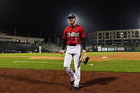 Fort Wayne TinCaps Grant Little (1) walks off the field between innings of a Midwest League game against the Fort Wayne TinCaps at Parkview Field on April 30, 2019 in Fort Wayne, Indiana. Kane County defeated Fort Wayne 7-4. (Zachary Lucy/Four Seam Images)