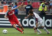 18 July 2012: Toronto FC midfielder Luis Silva #11 and Colorado Rapids defender Hunter Freeman #2 in action during an MLS game between the Colorado Rapids and Toronto FC at BMO Field in Toronto..Toronto FC won 2-1..
