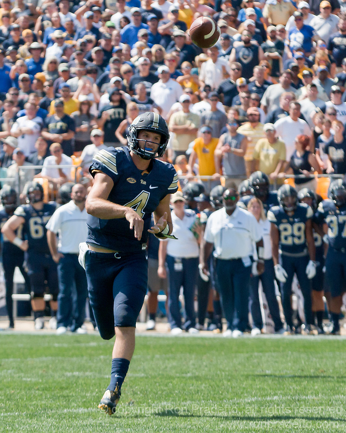 Pitt quarterback Nate Peterman. The Pitt Panthers defeated the Penn State Nittany Lions 42-39 at Heinz Field, Pittsburgh, Pennsylvania on September 10, 2016.