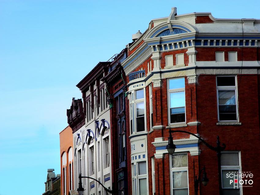 Historic buildings in downtown La Crosse, Wisconsin.