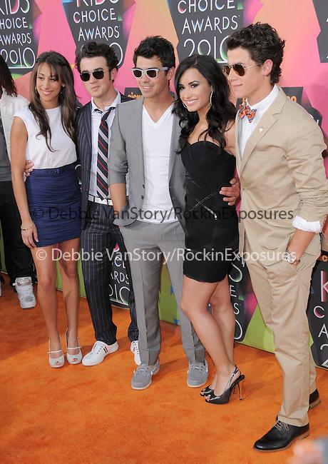 Kevin Jonas,Danielle Jonas,Demi Lovato,Joe Jonas & Nick Jonas at Nickelodeon's 23rd Annual Kids' Choice Awards held at Pauley Pavilion in Westwood, California on March 27,2010                                                                                      Copyright 2010 © DVS / RockinExposures