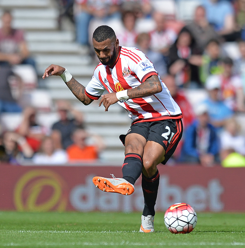 Sunderland's Yann M'Vila<br /> <br /> Photographer Dave Howarth/CameraSport<br /> <br /> Football - Barclays Premiership - Sunderland v Tottenham Hotspur - Sunday 13th September 2015 - Stadium of Light - Sunderland<br /> <br /> &copy; CameraSport - 43 Linden Ave. Countesthorpe. Leicester. England. LE8 5PG - Tel: +44 (0) 116 277 4147 - admin@camerasport.com - www.camerasport.com