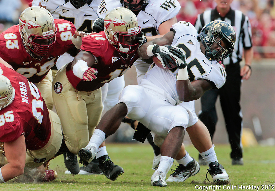 TALLAHASSEE, FL 9/15/12-FSU-WAKE091512 CH-Florida State's Everett Dawkins, top left, and Vince Williams close on Wake Forest's Zachary Allen during first half action Saturday at Doak Campbell Stadium in Tallahassee. Bjoern Werner is at bottom left. The Seminoles shut out the Demon Deacons 52-0..COLIN HACKLEY PHOTO