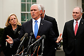 United States Vice President Mike Pence briefs reporters following a meeting with the president and congressional leaders on the government shutdown, at the White House, in Washington, D.C., 1-9-19. Behind Pence are, from left to right: US Secretary of Homeland Security (DHS) Kirstjen Nielsen, US House Minority Leader Kevin McCarthy (Republican of California), and US House Minority Whip Steve Scalise (Republican of Louisiana).<br /> Credit: Martin H. Simon / CNP