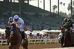 ARCADIA, CA  APRIL 7:  #6 Justify, ridden by Mike Smith, first time past the wire in  the Santa Anita Derby (Grade l) on April 7, 2018, at Santa Anita Park in Arcadia, Ca.  (Photo by Casey Phillips/ Eclipse Sportswire/ Getty Images)