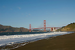 San Francisco: Baker Beach with Golden Gate Bridge in background.  Photo # 2-casanf76419.  Photo copyright Lee Foster