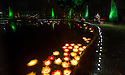 04/10/14 <br /> <br /> A visitor stops to photograph candles floating on lilly pads in a pond.<br /> <br /> Luminaire returns to Chatsworth Hose. <br /> <br /> In the garden an illuminated trail leads the way, inspired by the drawings of Inigo Jones. Moments from the Masque of Oberon, The Fairy Prince, feature along the trail, with lighting, projections and music.<br /> <br /> A selection of drawings from the Masque, illustrated by Inigo Jones (1611) and other colourful drawings by Inigo Jones will be displayed in the Great Chamber. Not seen in over 40 years, these drawings along with music bring the Baroque house to life.<br /> <br /> Luminaire in the house and garden is open each evening until October 7th.<br /> <br /> All Rights Reserved - F Stop Press.  www.fstoppress.com. Tel: +44 (0)1335 300098