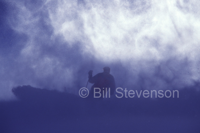 A photo of a skier on a windy day on Donner Summit, Ca.