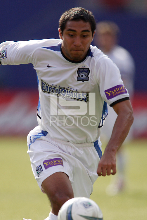 The Earthquake's Arturo Alvarez. The San Jose Earthquakes were shut out by  the NY/NJ MetroStars 2-0 at Giant's Stadium, East Rutherford, NJ, on July 10, 2004.