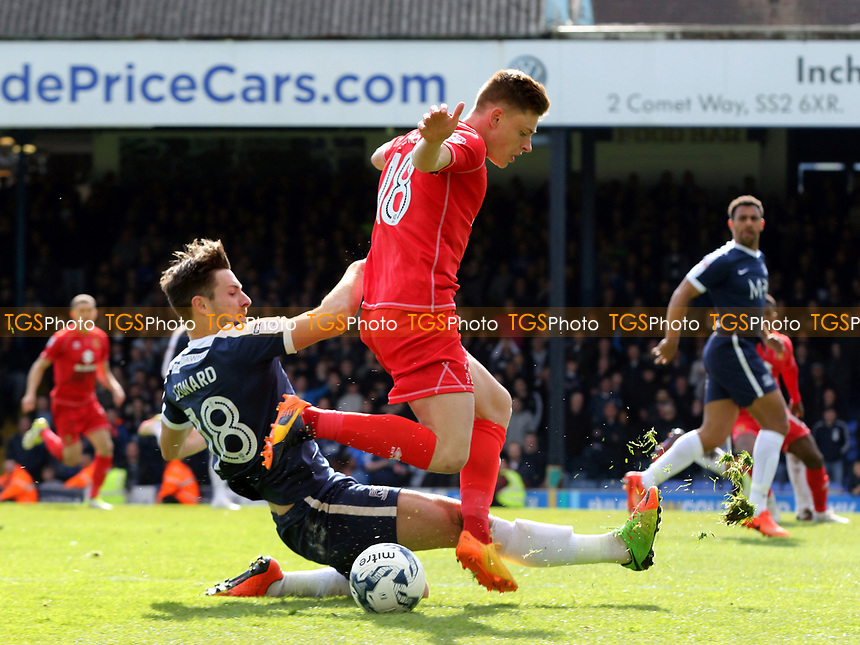 Ryan Leonard of Southend tackles Harvey Barnes of MK Dons during Southend United vs MK Dons, Sky Bet EFL League 1 Football at Roots Hall on 17th April 2017