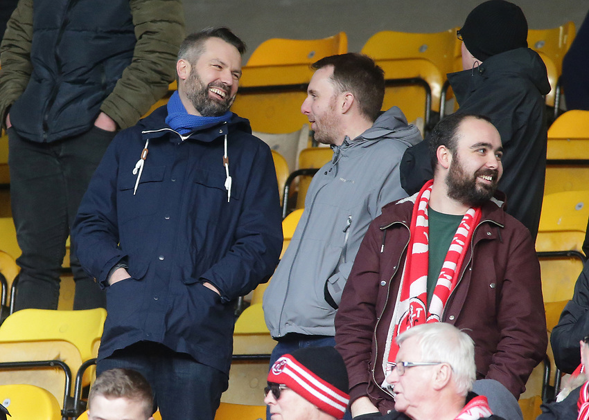 Fleetwood Town fans enjoy the atmosphere inside Valley Parade<br /> <br /> Photographer David Shipman/CameraSport<br /> <br /> The EFL Sky Bet League One - Bradford City v Fleetwood Town - Saturday 9th February 2019 - Valley Parade - Bradford<br /> <br /> World Copyright © 2019 CameraSport. All rights reserved. 43 Linden Ave. Countesthorpe. Leicester. England. LE8 5PG - Tel: +44 (0) 116 277 4147 - admin@camerasport.com - www.camerasport.com