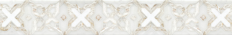 "6 1/8"" Huelva border, a handmade mosaic shown in honed Heavenly Cream, polished Cloud Nine and Thassos, is part of the Miraflores collection by Paul Schatz for New Ravenna."