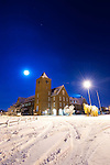 December 19 2010 Staines Council Offices in the Snow during full moon