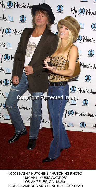"©2001 KATHY HUTCHINS / HUTCHINS PHOTO."" MY VH1  MUSIC AWARDS"".LOS ANGELES, CA. 12/2/01. RICHIE SAMBORA AND HEATHER  LOCKLEAR"