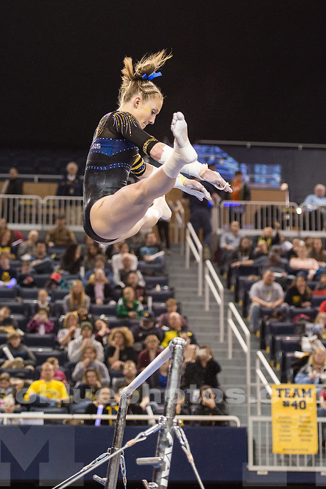The University of Michigan women's gymnastics team falls to Utah, 197.525-197.050, at Crisler Center in Ann Arbor, MI. on March 3, 2016.
