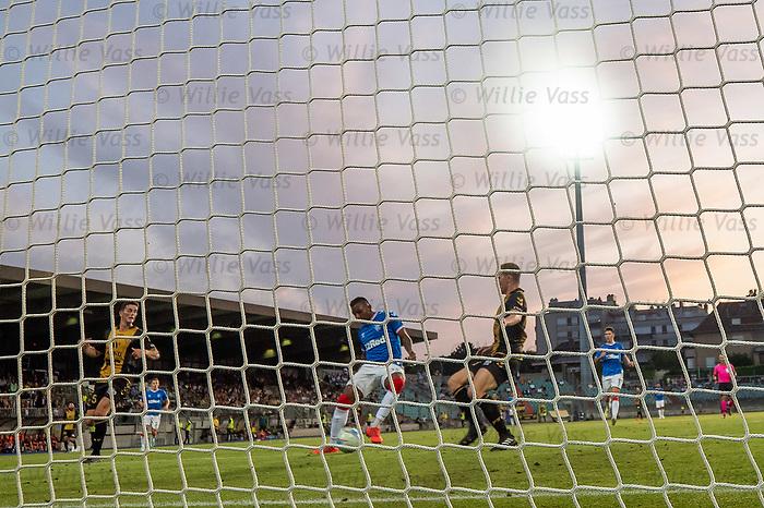 01.08.2019 Progres Niederkorn v Rangers: Alfredo Morelos misses