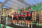 BMC Racing Team at sign on before the start of the 112th edition of Il Lombardia 2018, the final monument of the season running 241km from Bergamo to Como, Lombardy, Italy. 13th October 2018.<br /> Picture: Eoin Clarke | Cyclefile<br /> <br /> <br /> All photos usage must carry mandatory copyright credit (© Cyclefile | Eoin Clarke)