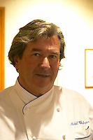 The chef cook owner Michel Chabran himself. In the restaurant Michel Chabran i Pont de l'Isere. Pont de l'Isere Isère, Drome Drôme France, Europe
