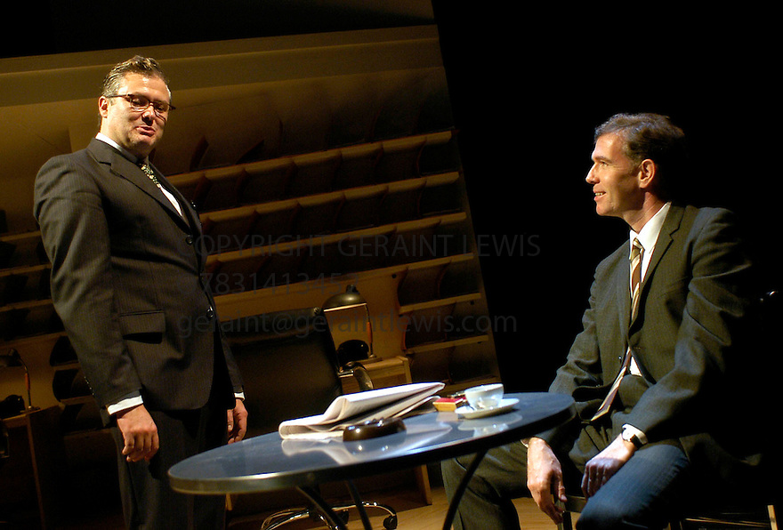 Democracy with Conleth Hill,Steven Pacey ,a world premiere by Michael Frayn directed by Michael Blakemore opens at the Cottesloe Theatre on 9/9/03  CREDIT Geraint Lewis