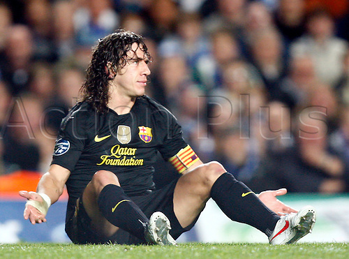 18.04.2012. Stamford Bridge, Chelsea, London. .Carles Puyol of  FC Barcelona .during the Champions League Semi Final 1st  leg match between Chelsea and Barcelona  at Stamford Bridge, Stadium on April 18, 2012 in London, England.............