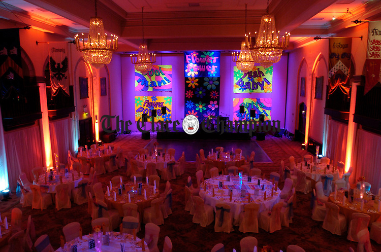 Dromoland Castle banqueting hall decked out for the Clare Champion Sixties Ball in Dromoland. Photograph by John Kelly.