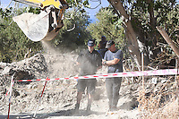 "FAO JANET TOMLINSON, DAILY MAIL <br /> Pictured: Specialist forensics officers at the field where the search is taking place in Kos, Greece. Friday 30 September 2016<br /> Re: Police teams searching for missing toddler Ben Needham on the Greek island of Kos have said they are ""optimistic"" about new excavation work.<br /> Ben, from Sheffield, was 21 months old when he disappeared on 24 July 1991 during a family holiday.<br /> Digging has begun at a new site after a fresh line of inquiry suggested he could have been crushed by a digger.<br /> South Yorkshire Police (SYP) said it continued to keep an ""open mind"" about what happened to Ben."