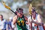 Santa Barbara, CA 02/13/10 - Bryn Levitan (Oregon #77) and Grace Jackson (Texas #7) in action during the Texas-Oregon game at the 2010 Santa Barbara Shoutout, Texas defeated Oregon 11-9.
