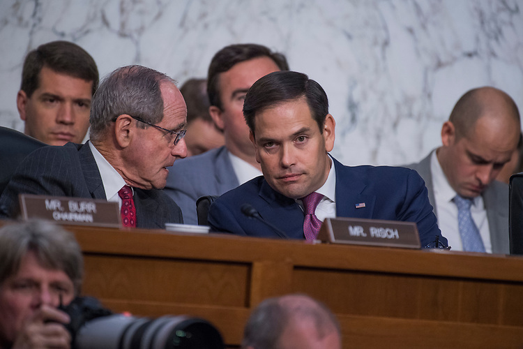 UNITED STATES - JUNE 8: Sen. Marco Rubio, R-Fla., right, and James Risch, R-Idaho, attend a Senate Select Intelligence Committee hearing about Russian interference in the 2016 election featuring testimony by former FBI Director James Comey on June 8, 2017. (Photo By Tom Williams/CQ Roll Call)