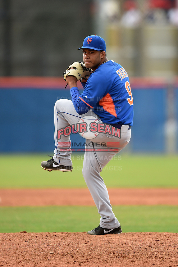 New York Mets pitcher Dawrin Frias (9) during a minor league spring training game against the St. Louis Cardinals on March 27, 2014 at the Port St. Lucie Training Complex in Port St. Lucie, Florida.  (Mike Janes/Four Seam Images)