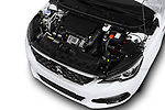 Car stock 2018 Peugeot 308 GT Line 5 Door Hatchback engine high angle detail view