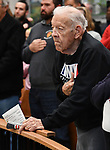 U.S. Army Air Corps World War II veteran Fred Bruss, 95 of Freeburg, who also served on the Belleville fire department for 30 years, stands during the pledge of allegiance. The city of Belleville held their 21st annual Veterans Day ceremony inside Belleville City Hall on Thursday November 11, 2019. It was moved inside due to the winter weather.<br /> Photo by Tim Vizer