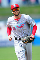 Syracuse Chiefs second baseman Cutter Dykstra (4) during a game versus the Pawtucket Red Sox at McCoy Stadium in Pawtucket, Rhode Island on April 30, 2015.  (Ken Babbitt/Four Seam Images)