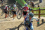 October 17, 2015 - Boulder, Colorado, U.S. - Elite women cyclists power up the long run-up during the U.S. Open of Cyclocross, Valmont Bike Park, Boulder, Colorado.