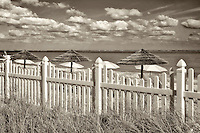 White picket fence and beach umbrellas. Grace Bay. Providenciales. Turks and Caicos