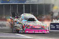 Apr 24, 2015; Baytown, TX, USA; NHRA  funny car driver Courtney Force during qualifying for the Spring Nationals at Royal Purple Raceway. Mandatory Credit: Mark J. Rebilas-