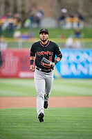 Noel Cuevas (2) of the Albuquerque Isotopes during the game against the Salt Lake Bees at Smith's Ballpark on April 5, 2018 in Salt Lake City, Utah. Salt Lake defeated Albuquerque 9-3. (Stephen Smith/Four Seam Images)