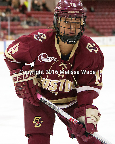 Kenzie Kent (BC - 12) - The visiting Boston College Eagles defeated the Harvard University Crimson 2-0 on Tuesday, January 19, 2016, at Bright-Landry Hockey Center in Boston, Massachusetts.